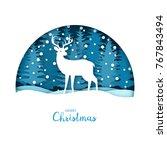 merry christmas card. white... | Shutterstock .eps vector #767843494