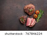 grilled fillet steaks. top view ... | Shutterstock . vector #767846224