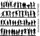 silhouettes of women and men... | Shutterstock . vector #767847400