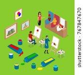 artist palette workplace... | Shutterstock .eps vector #767847670