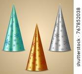 metal cones as christmas fir...   Shutterstock .eps vector #767852038
