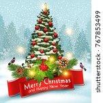 illustration for merry... | Shutterstock . vector #767853499