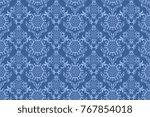 seamless blue wallpaper pattern.... | Shutterstock .eps vector #767854018