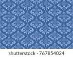 seamless blue wallpaper pattern.... | Shutterstock .eps vector #767854024