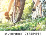 couple lover cycling on sport... | Shutterstock . vector #767854954
