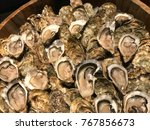 fresh oyster seafood menu in... | Shutterstock . vector #767856673