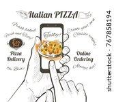 online order pizza. order fast...   Shutterstock .eps vector #767858194