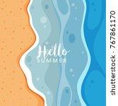 hello summer with ocean view...   Shutterstock .eps vector #767861170
