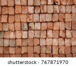 red color bricks arranged in... | Shutterstock . vector #767871970