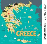 illustration map of greece with ... | Shutterstock .eps vector #767877160
