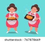 chubby woman made bread. cute...   Shutterstock .eps vector #767878669