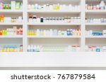 pharmacy store background with...   Shutterstock . vector #767879584
