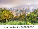 hong kong night skyline from... | Shutterstock . vector #767880058