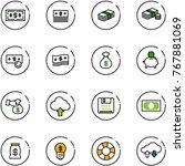 line vector icon set   dollar...