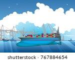 illustration of a cargo ship in ... | Shutterstock .eps vector #767884654