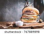 homemade fresh hamburger and... | Shutterstock . vector #767889898