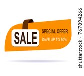original offer sale tag fifty | Shutterstock .eps vector #767894266
