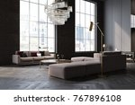 gray and black living room... | Shutterstock . vector #767896108