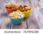 assortment of almond nuts  ...   Shutterstock . vector #767896288