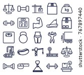 set of 25 weight outline icons... | Shutterstock .eps vector #767897440