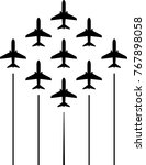 airplane flying formation  air... | Shutterstock .eps vector #767898058