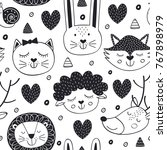 seamless pattern with head... | Shutterstock .eps vector #767898979