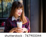 pretty young woman in stylish... | Shutterstock . vector #767903344