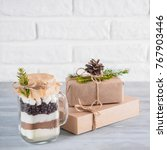 hot chocolate mix in mason jar... | Shutterstock . vector #767903446