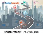 business road map timeline... | Shutterstock .eps vector #767908108