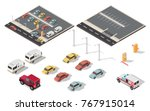 isometric parking space cars... | Shutterstock .eps vector #767915014