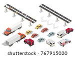 isometric brigde and city with... | Shutterstock .eps vector #767915020