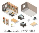 isometric colorful library... | Shutterstock .eps vector #767915026