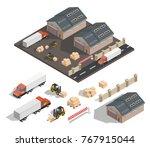 isometric warehouse exterior...   Shutterstock .eps vector #767915044
