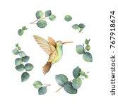 watercolor hand painted wreath... | Shutterstock . vector #767918674