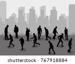 silhouette people group stand... | Shutterstock . vector #767918884