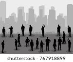 silhouette of people on city... | Shutterstock . vector #767918899