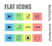 audio icons set with document ...