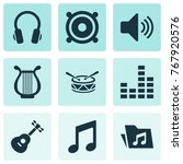 audio icons set with dossier ... | Shutterstock .eps vector #767920576