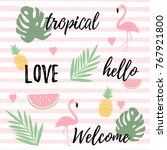 tropical background with... | Shutterstock .eps vector #767921800