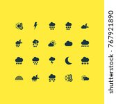 weather icons set with wet ... | Shutterstock .eps vector #767921890