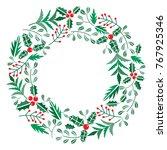 chriatmas wreath with berries ... | Shutterstock .eps vector #767925346