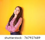 beautiful smiling woman on... | Shutterstock . vector #767927689