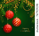 christmas background with red... | Shutterstock .eps vector #767929198