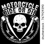 vintage motorcycle labels ... | Shutterstock .eps vector #767929390