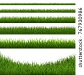 grass border set  vector... | Shutterstock .eps vector #767930986