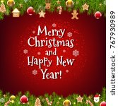 xmas poster postcard with... | Shutterstock .eps vector #767930989