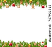 christmas border fir tree with... | Shutterstock .eps vector #767931916