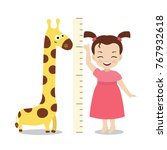 kid measures the growth. girl... | Shutterstock .eps vector #767932618