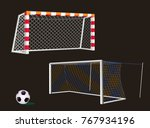 soccer goal with net. | Shutterstock .eps vector #767934196