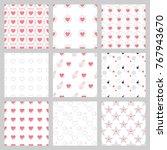 set of valentine day seamless...   Shutterstock .eps vector #767943670
